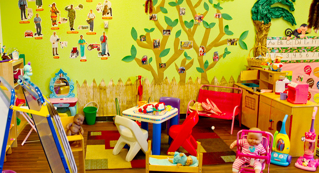 Empty Day Care with numerous toys
